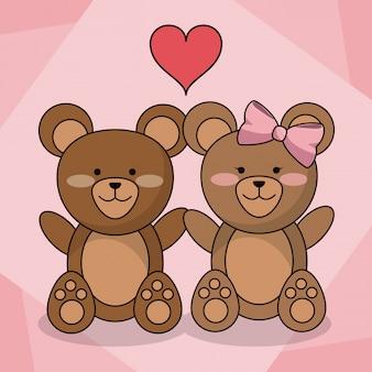 Liefdevolle beren paar