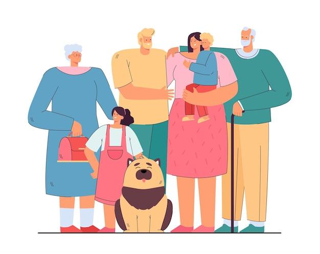 Liefdevolle en gelukkige grote familie staan samen geïsoleerde vlakke afbeelding