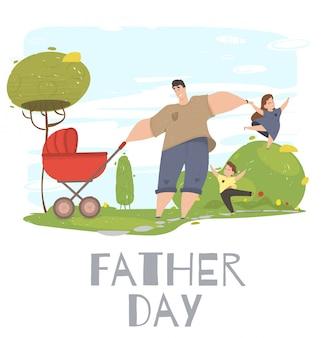 Liefdevolle familie van papa en kinderen brengen tijd door