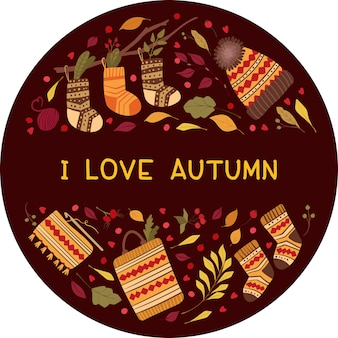 Liefdevolle herfst platte vector wenskaartsjabloon