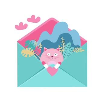 Liefdevolle kat verliefd zitten in envelop met hart voor valentijnsdag