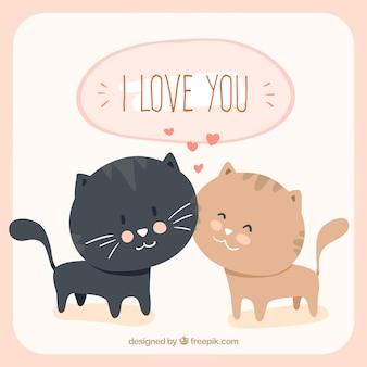 Liefdevolle katten cartoon