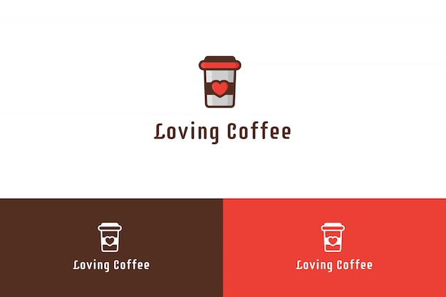 Liefdevolle koffie logo illustratie