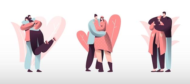 Liefdevolle paren instellen. jonge heteroseksuele verliefde mensen brengen samen tijd door, man en vrouw lopen buiten, knuffelen en zoenen. romantiek saamhorigheid harmonie relaties. cartoon platte vectorillustratie