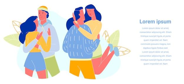 Liefdevolle paren knuffelen en omhelzen, banner.