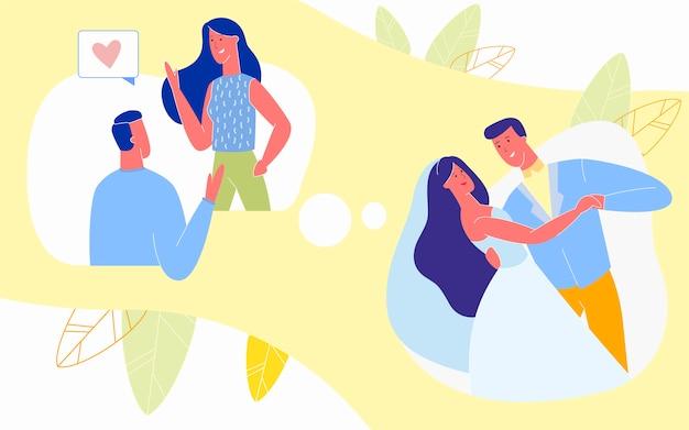 Liefdevolle relaties van eerste ontmoeting tot huwelijk,