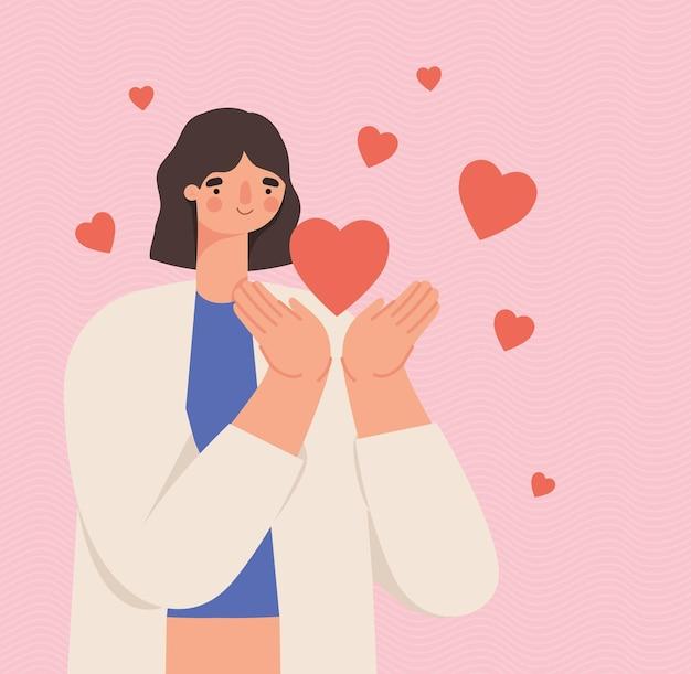 Liefdevolle vrouwenposter met hartjes
