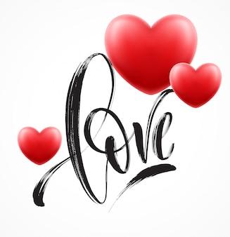 Liefdewoord hand getrokken belettering met rood hart. vector illustratie