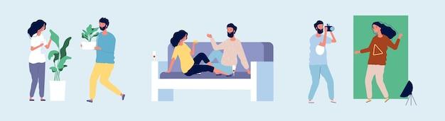 Liefhebbend stel. gelukkige paar verliefd tijd samen doorbrengen. vlakke mannelijke vrouwelijke karakters die thuis vrije tijdillustratie dateren.