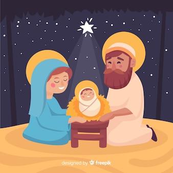Liefhebbende kerststal familie