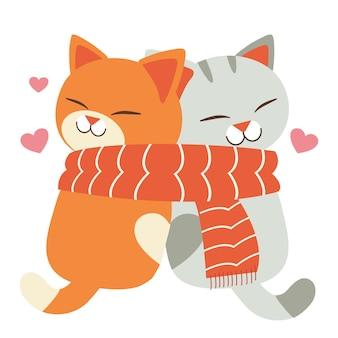 Liefhebbende schattige katten die een grote sjaal dragen