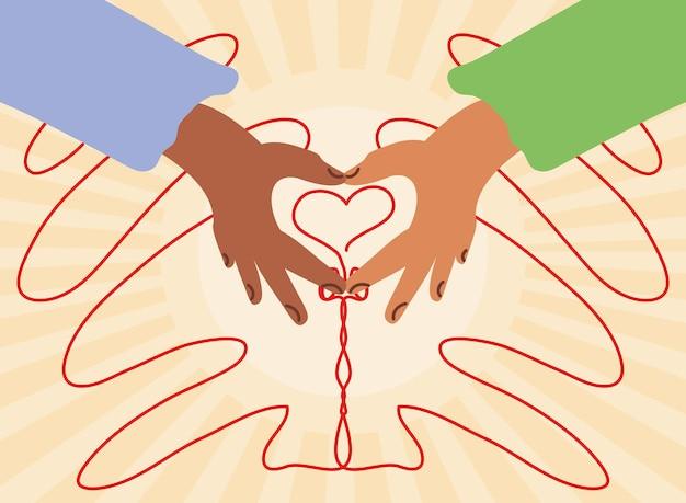 Liefhebbers handen maken hart