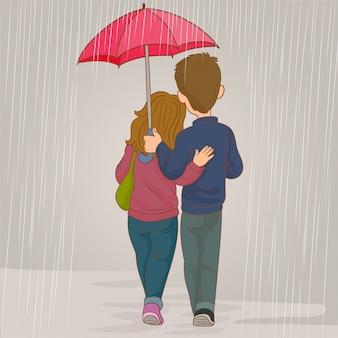 Liefhebbers koppelen in de regen