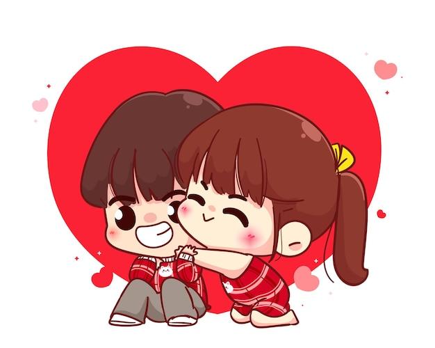 Liefhebbers paar knuffelen, happy valentine, cartoon karakter illustratie