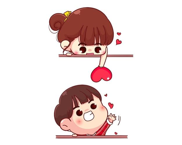 Liefhebbers paar verzenden hart, gelukkige valentijnskaart, cartoon karakter illustratie