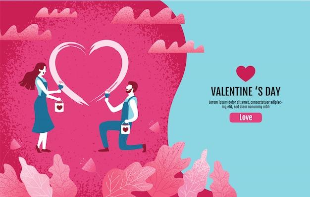 Liefhebbers samen schilderen een hartvorm. valentijnsdag, liefde, vectorillustratie.