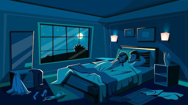 Liefhebbers slapen in bed illustratie van slaapkamer in de nacht met verspreide kleed kleren