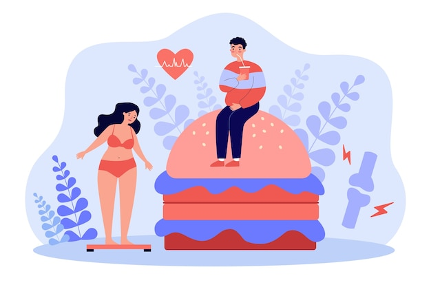 Liefhebbers van fastfood met overgewicht en een hoog cholesterolgehalte