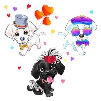 Liefhebbers van schattige labrador retriever-honden Premium Vector