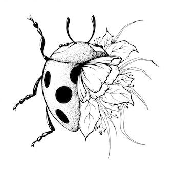 Lieveheersbeestje met bloemen.