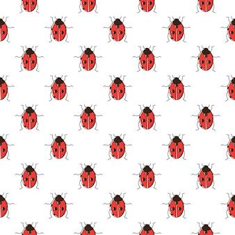 Lieveheersbeestje naadloze patroon.
