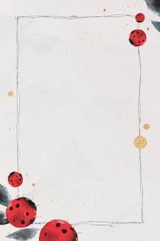 Lieveheersbeestjes en bladeren aquarel frame