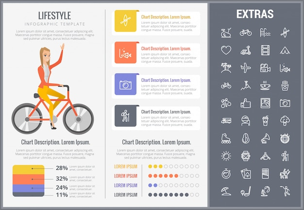 Lifestyle infographic sjabloon, elementen en pictogrammen