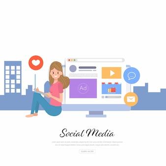 Lifestyle mensen en social media creatief ontwerp.