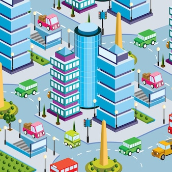 Lifestyle scene stedelijke isometrische 3d illustratie van een stadsblok met huizen, straten, mensen, auto's. illustratie voor de design- en gamesindustrie.