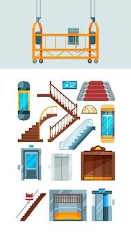 Lift. gebouw trappen appartement hefmechanisme vector collectie van liften