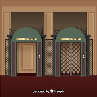 Lift met open en gesloten deur in plat ontwerp