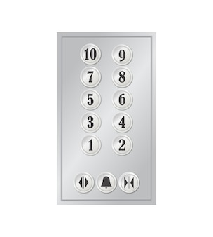 Lift- of liftknoppen metalen paneel met nummers voor hotel-, thuis- en kantoorgebouw.