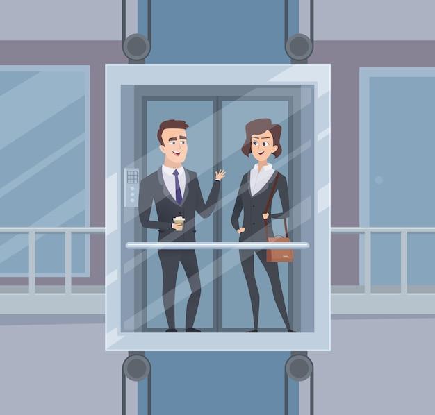 Lift praten. zakenliedendialoog in liftbedrijfsgesprek