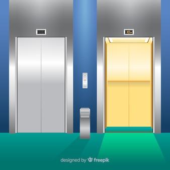 Liftconcept met open en gesloten deur in vlakke stijl