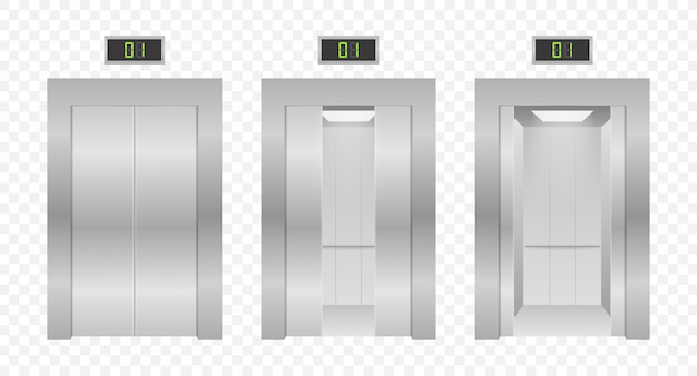 Liftdeuren. metalen lift sluiten en openen in kantoorgebouw. illustratie.