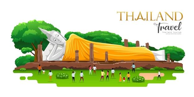 Liggende boeddha geel gewaad, khun inthapramun, provincie ang thong