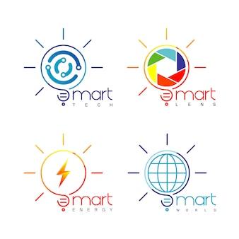 Light bulb logo set
