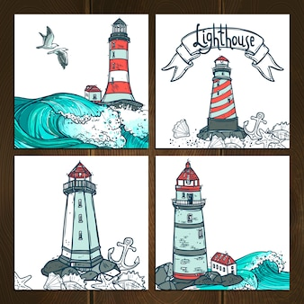 Lighthouse cards set
