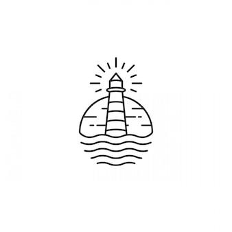 Lighthouse tower island met zoekend licht logo