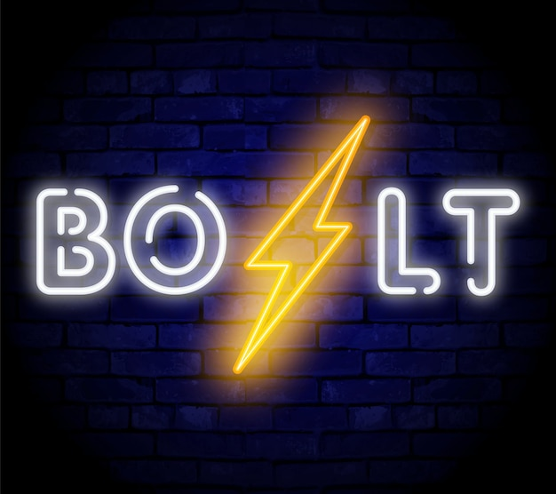 Lightning bolt neon teken. vector ontwerpsjabloon. neon symbool met hoog voltage