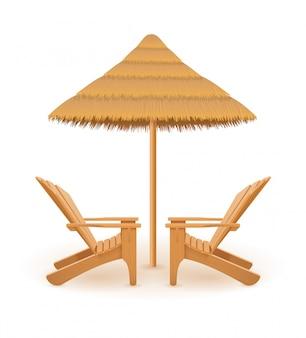 Ligstoel van het strandzetel deckchair houten en paraplu gemaakt van stro en riet vectorillustratie