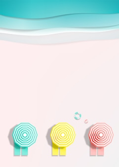 Ligstoelen op het strand met oceaanachtergrond voor de zomer in de vectorillustratie van de document kunststijl