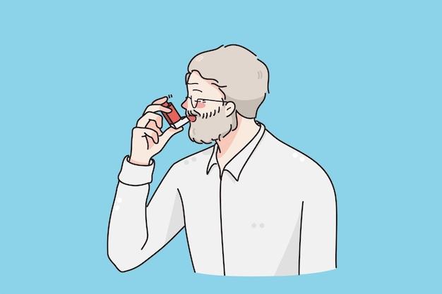 Lijdend aan astma concept