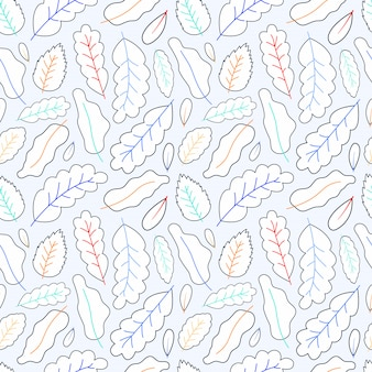 Lijn art leaves seamless pattern vectorillustratie