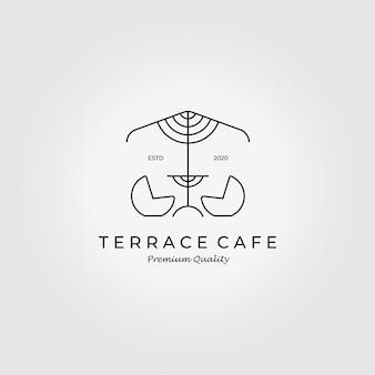 Lijn art terras cafe buiten logo vector illustratie design icon