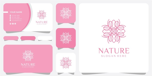 Lijn bloem logo ontwerpconcept. natuur lijn logo ontwerp inspiratie