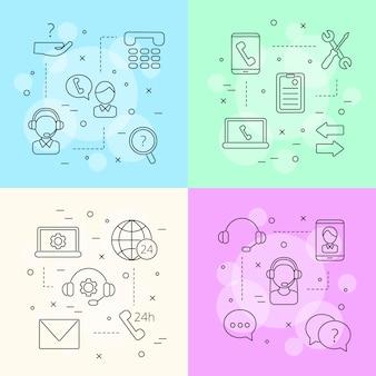 Lijn call support center pictogrammen infographic concept