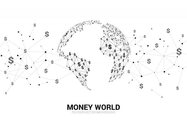 Lijn connect dollar valuta geld vorm de wereldbol.
