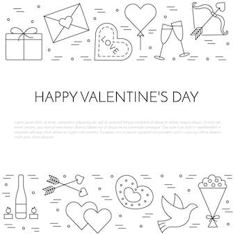 Lijn dunne pictogrammen banner voor valentijnsdag en datum thema.