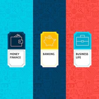 Lijn financiën patronen set. vectorillustratie van logo-ontwerp. sjabloon voor verpakking met etiketten.